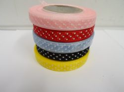 2 or 20 metres x 10mm polka dot organza ribbon